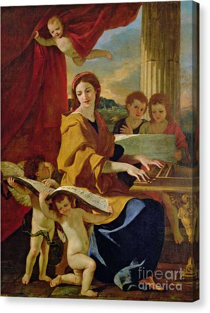 Cherub Canvas Print - Saint Cecilia by Nicolas Poussin