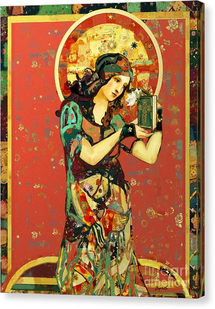 Byzantine Art Canvas Print - Saint Dymphna by Carrie Joy Byrnes