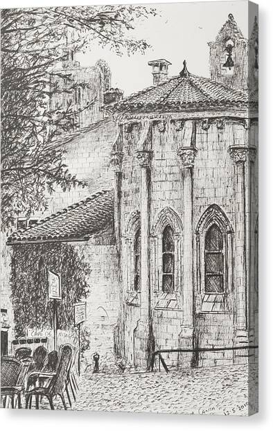 Pen And Ink Drawing Canvas Print - Saint-emilion by Vincent Alexander Booth