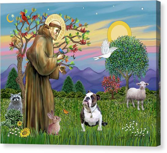 Saint Francis Blesses A Brown And White English Bulldog Canvas Print