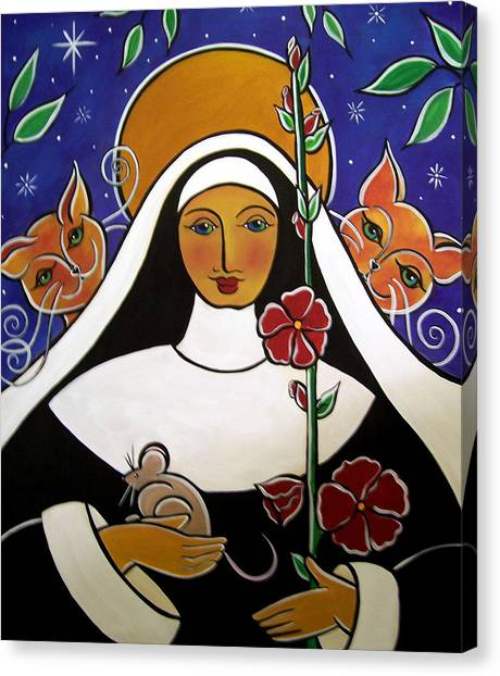 Saint Gertrude Of Nivelles Canvas Print