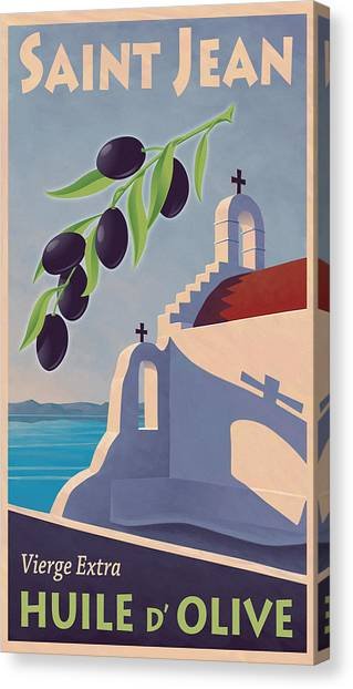 Greek Canvas Print - Saint Jean Olive Oil by Mitch Frey