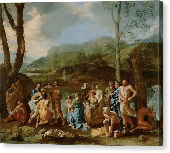 River Jordan Canvas Print - Saint John Baptizing In The River by Nicolas Poussin