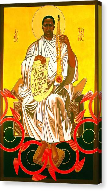 Saints Canvas Print - Saint John Coltrane Enthroned by Mark Dukes