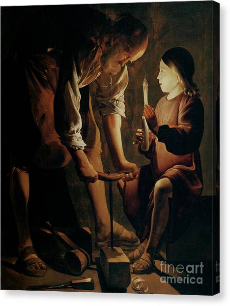 Tools Canvas Print - Saint Joseph The Carpenter  by Georges de la Tour