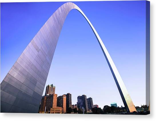 St. Louis Blues Canvas Print - Saint Louis Downtown Skyline Clear Morning Cool Blue by Gregory Ballos