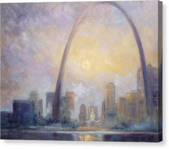 Canvas Print - Saint Louis Skyline - Frosty Day by Irek Szelag