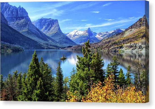 Saint Mary Lake In Glacier National Park Canvas Print