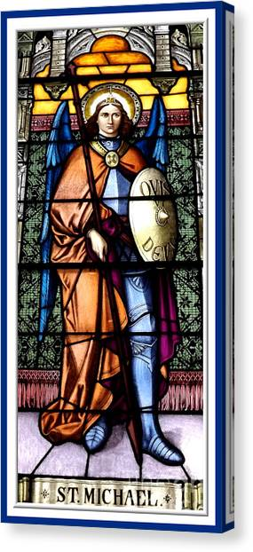 Saint Michael The Archangel Stained Glass Window Canvas Print
