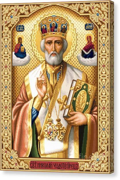Orthodox Art Canvas Print - Saint Nicholas by Stoyanka Ivanova