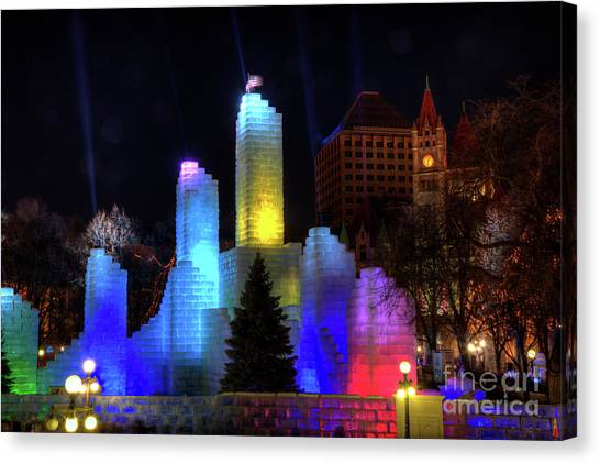 Saint Paul Winter Carnival Ice Palace 2018 Lighting Up The Town Canvas Print