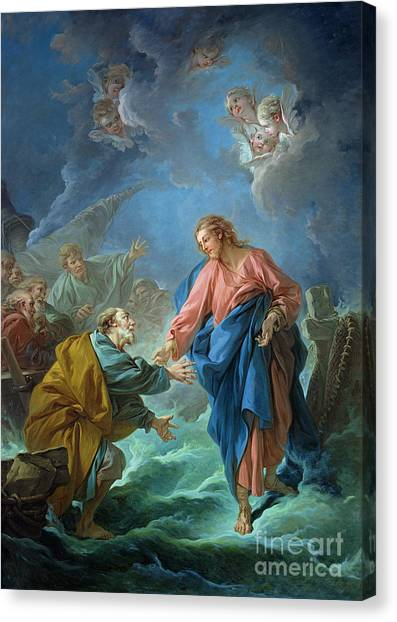 Cherub Canvas Print - Saint Peter Invited To Walk On The Water by Francois Boucher