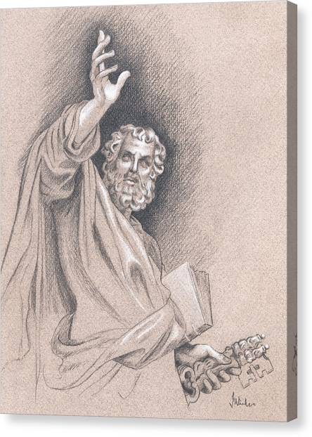 Canvas Print featuring the drawing Saint Peter by Joe Winkler