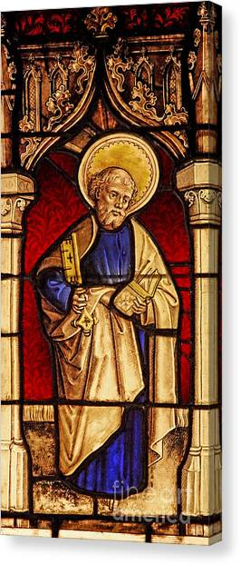 Decorative Glass Canvas Print   Saint Peter Stained Glass By French School