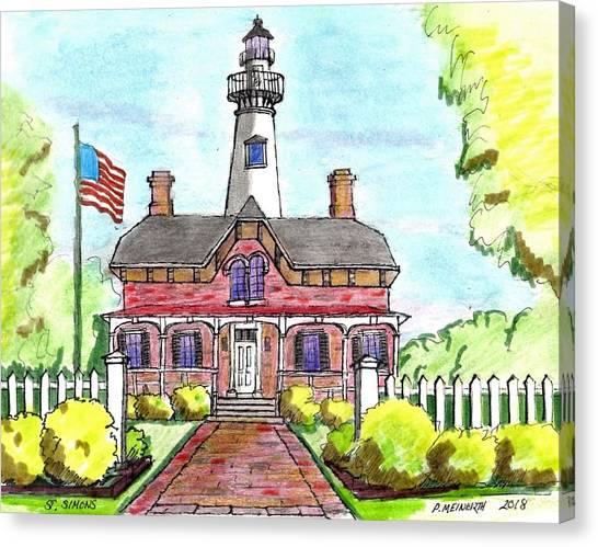Saint Simons Lighthouse Canvas Print by Paul Meinerth