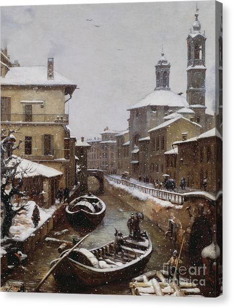Snow Bank Canvas Print - Saint Sophia Canal Covered In Snow by Angelo Inganni