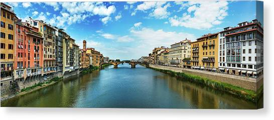 Panoramic View Of Saint Trinity Bridge From Ponte Vecchio In Florence, Italy Canvas Print
