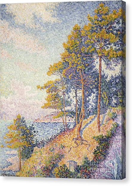 Post-impressionism Canvas Print - Saint Tropez, The Coastal Path by Paul Signac