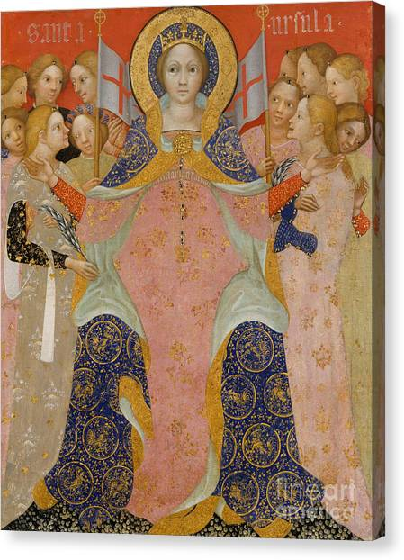 Early Christian Art Canvas Print - Saint Ursula And Her Maidens by Nicolo di Pietro