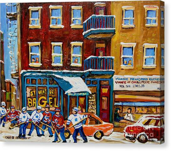 Saint Viateur Bagel With Hockey Canvas Print