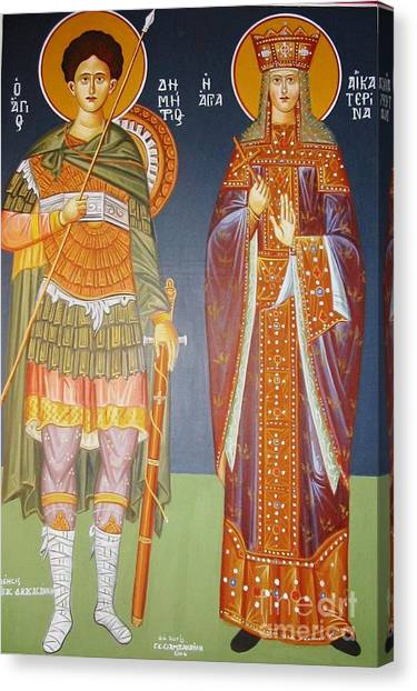 Saints Dimitrius And Aekaterina Canvas Print by George Siaba