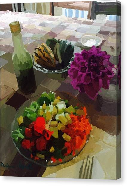 Salad Dressing Canvas Print - Salad And Dressing With Squash And Dahlia by Melissa Abbott