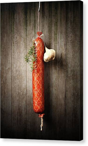 Meat Canvas Print - Salami Sausage  by Johan Swanepoel