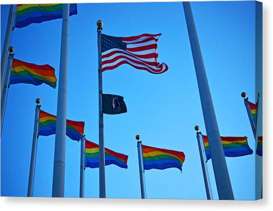 Salem Ma Flags Gay Pride Canvas Print by Toby McGuire
