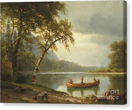 Fly Fishing Canvas Print - Salmon Fishing On The Caspapediac River by Albert Bierstadt