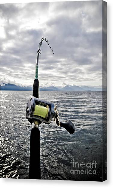 Fishing Canvas Print - Salmon Fishing Rod by Darcy Michaelchuk