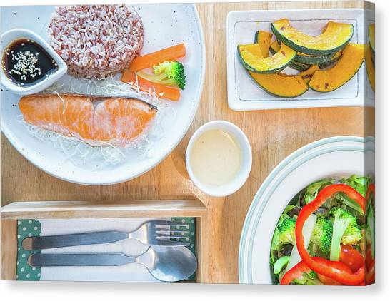Salad Dressing Canvas Print - Salmon Salad With Bread And Bacon, Slim, Fit, Clean And Healthy Food by Anek Suwannaphoom