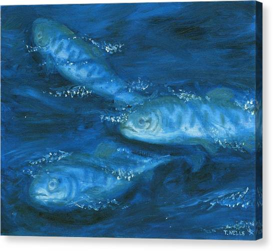 Salmon Swimming Canvas Print by Tanna Lee M Wells