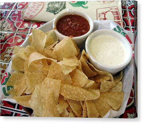 Ranch Dressing Canvas Print - Salsa Chips And Ranch Dressing by Amy Hosp