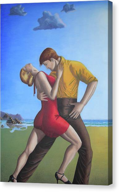 Salsa Dancing Portrait Painting Art   Canvas Print by Luigi Carlo