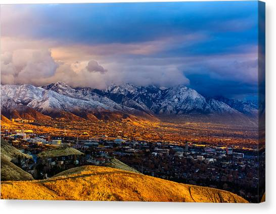 University Of Utah Canvas Print - Salt Lake City Golden Sunset by Jason Shepherd