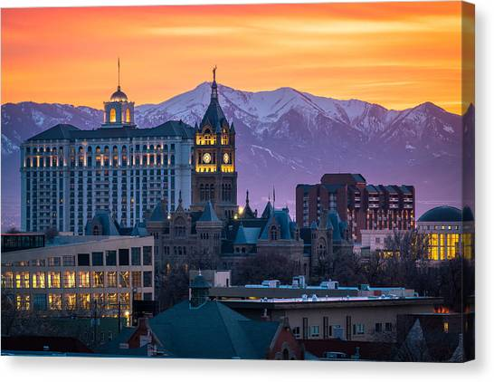 Salt Lake City Hall At Sunset Canvas Print