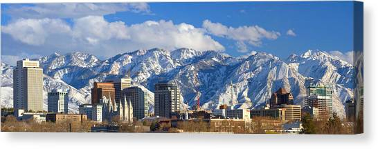 Wasatch Mountains Canvas Print - Salt Lake City Skyline by Utah Images