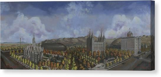 Salt Lake Temple Canvas Print - Salt Lake City Temple Square Nineteen Twelve  by Jeff Brimley