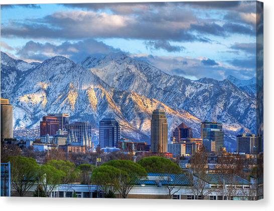 Temple Canvas Print - Salt Lake City Utah Usa by Utah Images