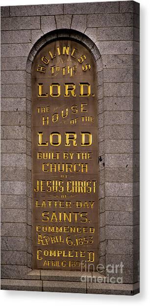 Salt Lake Lds Temple Dedication Plaque Close-up Canvas Print
