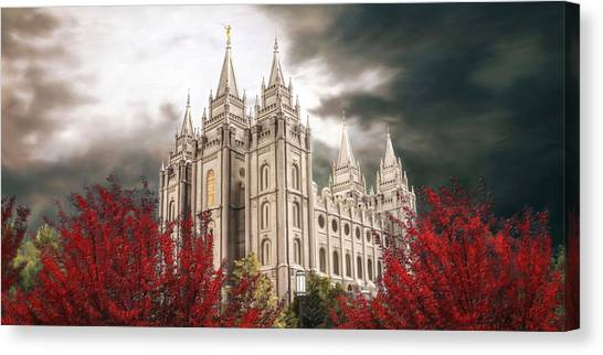 Temple Canvas Print - Salt Lake Temple - A Light In The Storm by Brent Borup