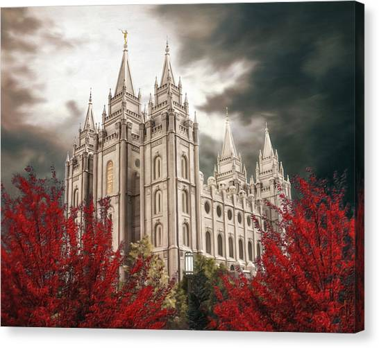 Mormon Canvas Print - Salt Lake Temple - A Light In The Storm - Cropped by Brent Borup