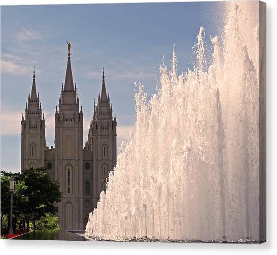 Canvas Print - Salt Lake Temple And Fountain by Rona Black