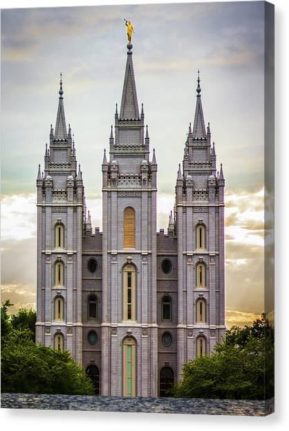Salt Lake Temple Canvas Print - Salt Lake Temple At Sunset by Dakota Corbin