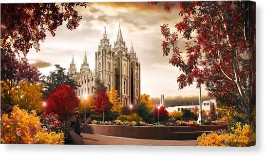 Salt Lake Temple Canvas Print - Salt Lake Temple - Autumn by Brent Borup