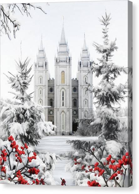 Salt Lake Temple Canvas Print - Salt Lake Temple - Winter Wonderland by Brent Borup