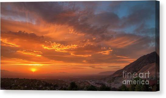 Canvas Print featuring the photograph Salt Lake Valley Sunset by Spencer Baugh