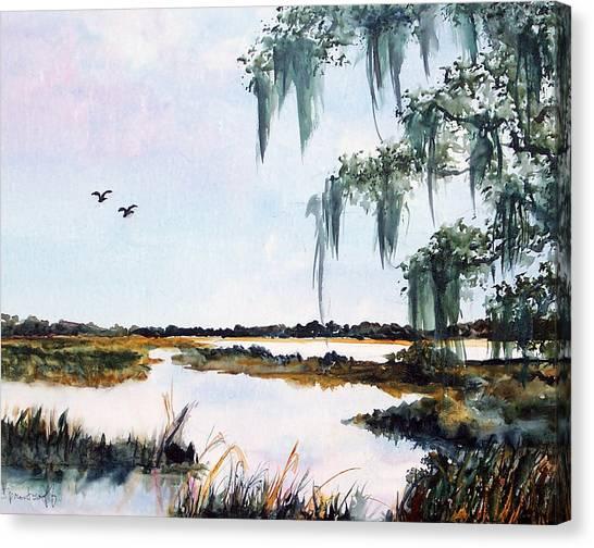 Salt Marsh With Live Oak Canvas Print by Carol Sprovtsoff