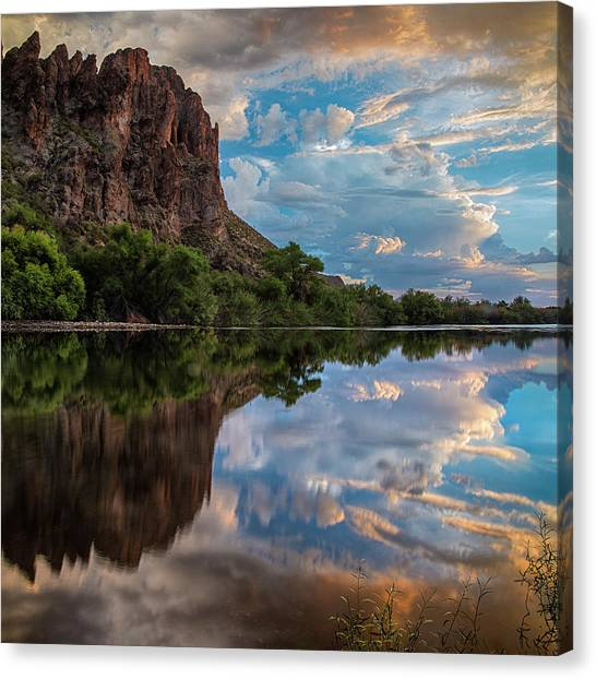 Sonoran Desert Canvas Print - Salt River Sunset Reflections by Dave Dilli