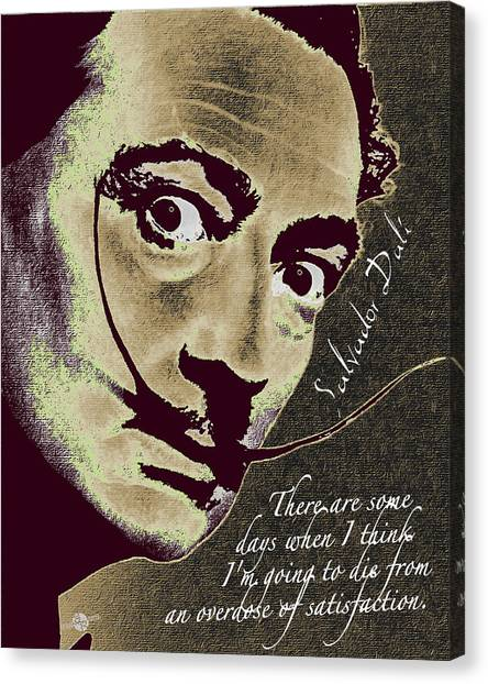 Salvador Dali Canvas Print - Salvador Dali Pop Art Painting And Signature With Quote by Tony Rubino
